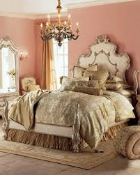 opulent coral bedroom plus brown window curtain and vintage light