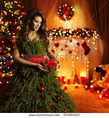christmas tree woman fashion dress model stock photo 335118392