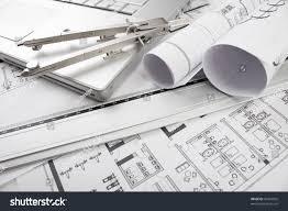 architectural plans blueprints office stock photo 50324095