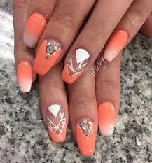 50 coffin nail art ideas orange nail white patterns and chevron