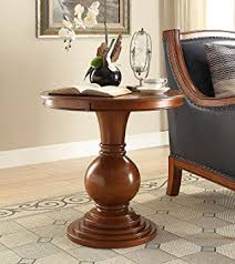 Amazoncom Wooden Round Side Table In Burnt Chestnut Kitchen - Kitchen side table