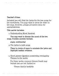 eng i u0026 ii 3 short answer lesson with song lyrics mccartney