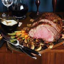 mustard seed crusted prime rib roast with roasted balsamic onions