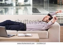Sleeping On The Sofa Man Sleeping While Listening Music Lying Stock Photo 453825118