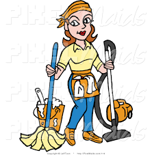 pics of cartoon maids clipart of a housekeeper mopping and