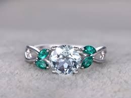 7mm round aquamarine engagement ring marquise emerald leaf style