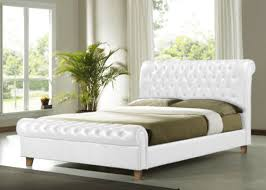 King Size Leather Sleigh Bed King White Faux Leather Bed Frame 6ft Brown Luxury
