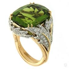 peridot engagement ring jewelry cushion peridot gold leaf ring for sale on