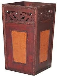 handcrafted wood and faux leather wastebasket home
