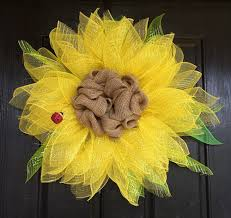 sunflower mesh wreath summer wreaths how to make a sunflower wreath