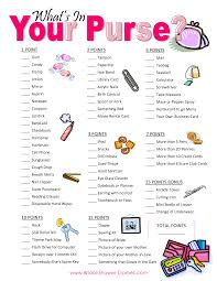bridal shower game printable what u0027s in your purse purse hunt on