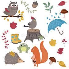 imagenes animadas de otoño personajes de dibujos animados y elementos del otoño ilustración del