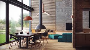 dining table with rug underneath apartment fashionable loft apartment interior design with pendant