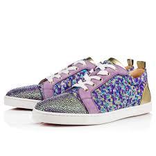 christian louboutin x swarovski crystal purple velvet sneakers elsoc