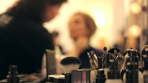 makeup artist tools professional makeup artist putting cosmetics focus on the