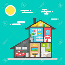 House Flat Design by Flat Design Of House Interior Illustration Vector Royalty Free