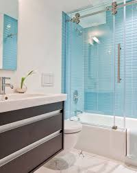 impressive bathroom glass tile accent ideas shower blue gray soho