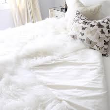 Lamb Skin Rugs White Real Tibetan Fur Mongolian Lambskin Sheepskin Hide Bed Throw