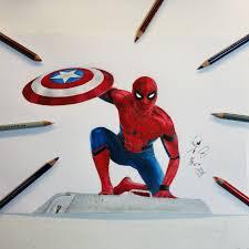 drawing spider man captain america civil war hd