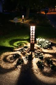 swirls 4x4 bollard by driveway eclectic landscape