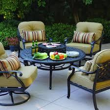 Patio Furniture Conversation Set - darlee nassau 5 piece cast aluminum patio fire pit conversation
