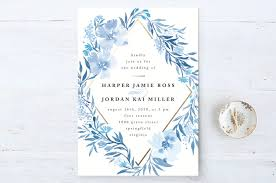 wedding invitations blue poetic blue wedding invitations by qing ji minted