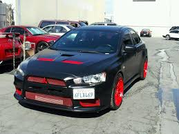 ricer lancer satin black w red evolutionm mitsubishi lancer and lancer