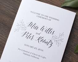 Flat Wedding Programs Greenery Wedding Program Folded Flat Printable Wedding