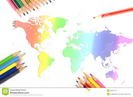 world map and color pencil royalty free stock image image 25582116