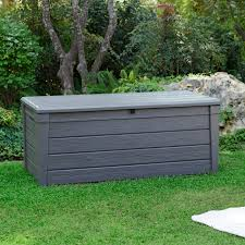 keter 206042 brightwood 120 gallon deck box outdoor living