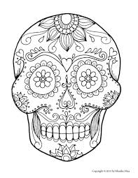 coloring pages of skulls with wings free sugar skull printable and