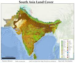 South India Map by South Asia Land Cover By Christ Stephens Map Southasia India