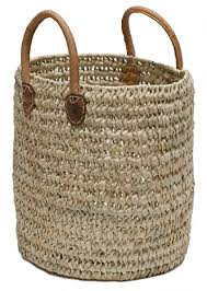amazon com moroccan straw round tote bag w leather handles 13