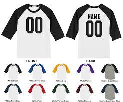 personalized custom jersey style raglan baseball 3 4