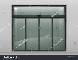 entrance glass door double sliding glass doors automatic motion stock vector 591443438