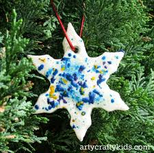 clay and melted crayon snowflakes
