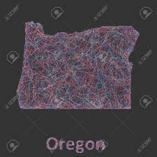 Oregon Map Outline by Oregon Line Art Map Red Blue And White On Black Background