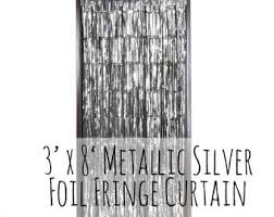 Silver Foil Curtains Silver Curtains Etsy