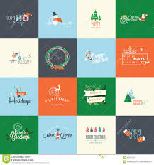 Design Greetings Cards Set Of Flat Design Elements For Christmas And New Year Greeting
