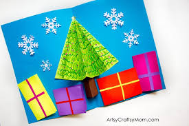 pop up christmas cards easy 3d christmas tree pop up card artsy craftsy
