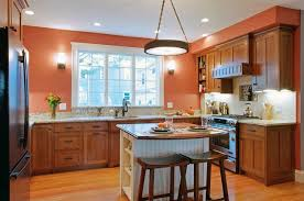 Kitchens With Wood Cabinets Extraordinary Orange Kitchen Colors Paint For Kitchens
