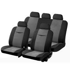 housse de siege auto personnalisé housse pour siege auto universelle gris et noir 9 pieces polyester