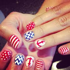 shellac gel color nails with anchor chevron polka dot design
