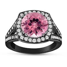 black and pink engagement rings tourmaline and diamonds engagement ring 14k black gold vintage