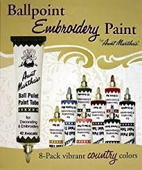 amazon com aunt martha u0027s ballpoint 8 pack embroidery paint jewel