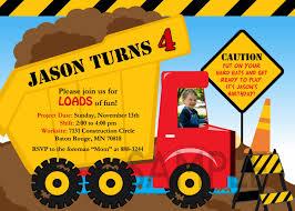 truck birthday party free printable dump truck birthday party invitations drevio