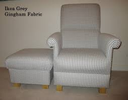 ikea berta ruta grey gingham fabric chair u0026 footstool