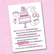 wedding gift of money 25 x wedding poem cards for your invitations ask politely for