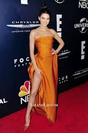 orange dress kendall jenner orange satin prom dress golden globes party 2017