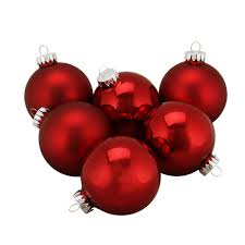 6ct shiny and matte burgundy glass ornaments